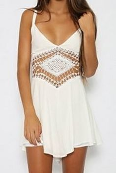 White Lace Crochet Spaghetti Strap Sleeveless  Hollow Out Women's Romper