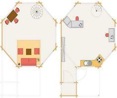 Para ver el interior y el plano de esta cabaña de estilo pabellón, hagan clic en la imagen superior.