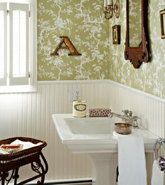 half bath: lay-out, wainscot, pedestal sink