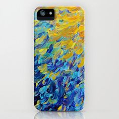 AQUATIC MELODY Ocean Waves Ombre iPhone 4 4s 5 5s 5c 6 Case Samsung Galaxy Case Phone Cover, Beach Colorful Yellow Blue Peacock Feathers Art