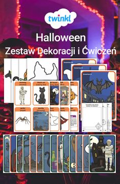 Zestaw zawiera rozmaite ćwiczenia, karty ze słownictwem, plakaty, scenariusze role play, wycinanki i wiele innych! Rewelacyjna metoda na wprowadzenie Halloweenowej atmosfery. #halloween #ćwiczenia #zestaw #plakaty #kolorowanki #wycinanki #słówka #słownictwo #fiszki #karty #role #play #scenariusze #szkoła #podstawowa #gazetka #ścienna #dekoracje Halloween, Spooky Halloween