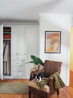 floor to ceiling, recessed panel- built-in wardrobe