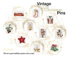 """""""Vintage Christmas Pins"""" by lizzysbibsandbobs ❤ liked on Polyvore featuring vintage"""