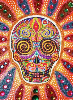 Sugar skull art by Thaneeya McArdle: fun, colorful, highly-detailed skulls inspired by Mexico's holiday Day of the Dead (Dia de los Muertos). Art Beat, Mexican Skulls, Mexican Folk Art, Zentangle, Mundo Hippie, Sugar Skull Art, Sugar Skulls, Day Of The Dead Skull, Candy Skulls