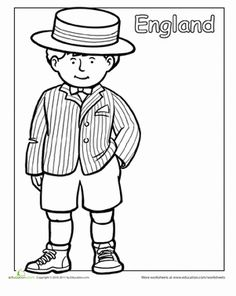First Grade People Community & Cultures Worksheets: Coloring Traditional Clothing social studies Multicultural Coloring: England