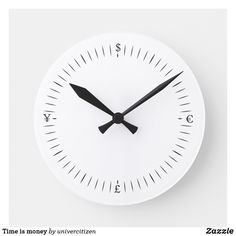 Shop Time is money round clock created by univercitizen. Time Is Money, Sewing For Beginners, Clock, Display, Prints, Clocks, Watch, Floor Space, Billboard