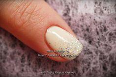 Gelish Neutral Glitter Ombre nails by www.funkyfingersfactory.com