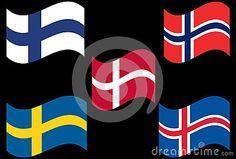 Flying Scandinavain flag Contries associate with Finland, Sweden, Denmark, Norway, Iceland