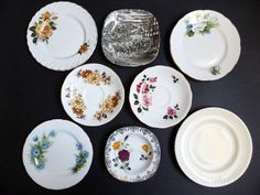 Mix of 8 Vintage Plates & Saucers by EdenKitsch