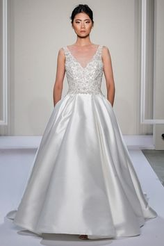 Dennis Baso: V-Neck A-Line Wedding Dress  with Natural Waist in Silk. Bridal Gown Style Number:33260894