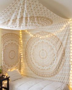 Love this idea with tapestry's and tea lights