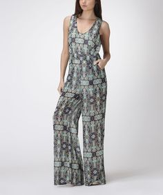 Look what I found on #zulily! Green Abstract Crisscross Jumpsuit by Carapace #zulilyfinds