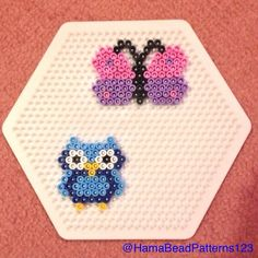 Hama Bead Owl And Butterfly by hamabeadpatterns123