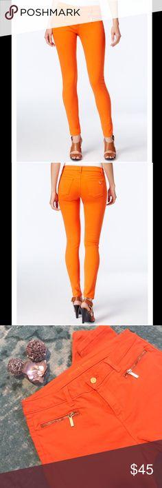 MICHAEL KORS PETITE SKINNY ANKLE JEAN Michael Kors petite skinny ankle jean in orange. Beautiful jean with an inseam of 28. Michael Kors Jeans Skinny