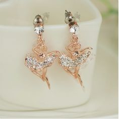 New Lovely Crystal Dancing Angel Alloy Rose Gold Plated Women's Drop Earrings