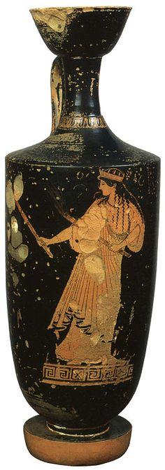 Artemis-Hecate. Red-figure lekythos. Attic. By the Pan Painter. Clay. Ca. 480 B.C. Height 32.5 cm. Inv. No. Б. 3368.Saint-Petersburg, The State Hermitage Museum.