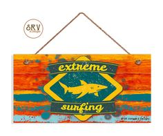 """Extreme Surfing Beach Sign, Weathered Shark Sign, Weatherproof, 5""""x10"""" Wall Plaque, Beach House, Surf, Made To Order by SRVintageandDesigns on Etsy"""