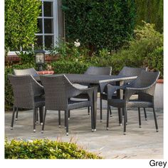 Cliff 7-piece Outdoor Dining Set by Christopher Knight Home (Grey), Size 7-Piece Sets, Patio Furniture (Iron)