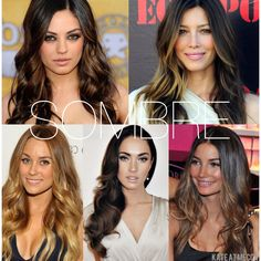 SOMBRE:  Finally a name to explain one of my favorite coloring techniques! Not quite Ombré, due to the less dramatic color variation and placement; and not quite a balayage highlight due to maintaining the classic ombre's darker crown, fading out to more lightly concentrated bottom. Perfect low maintenance hair color on blonde or brunette hair! #StyledByKate Ombre Sombre, Hair Color Balayage, Glamour Hair, Low Maintenance Hair, Hair Color And Cut, Hair Game, Love Hair, Brunette Hair, Fall Hair