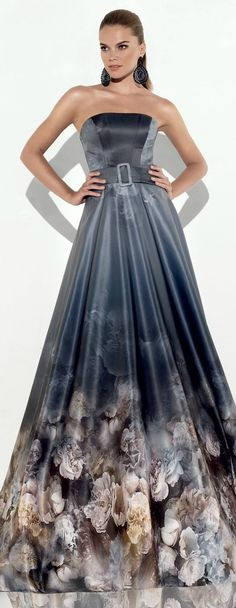 Strapless Printed Satin Ball Gown by Tarik Ediz