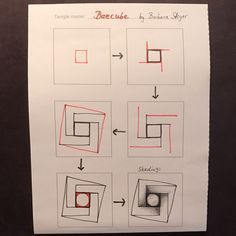 Baecube Tangle Pattern by Barbara Steyer – TangleSXM Tangle Doodle, Tangle Art, Doodle Art, Illusion Drawings, Illusion Art, Zentangle Drawings, Doodles Zentangles, Doodle Patterns, Zentangle Patterns