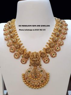 Traditional design light wt long harams get in best finish. Presenting Lakshmi haram in Mango mix design. Visit for perfect finish and most competitive prices. Contact non 8125 782 411 Gold Earrings Designs, Gold Jewellery Design, Necklace Designs, Gold Jewelry, Choker Jewelry, India Jewelry, Gold Necklaces, Silver Jewellery Indian, Latest Jewellery