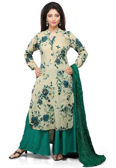 BEIGE COTTON READYMADE KAMEEZ WITH PALAZZO