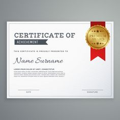 White certificate with a golden seal Free Vector Lorem Ipsum, Vector Free, Seal, Grief, Harbor Seal, Seals, Dolphins