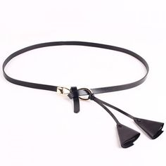 Chic Triangle Shape Pendant Embellished Kink Slender Belt For Women