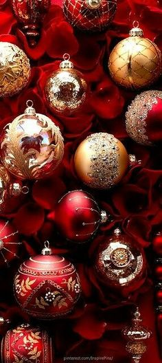 Red and gold Christmas decorations Noel Christmas, Christmas Is Coming, Christmas Baubles, Christmas Colors, Winter Christmas, Christmas Crafts, Christmas Decorations, Holiday Decor, Traditional Christmas Ornaments