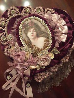 Victorian Beauty ...plum velvet Heart Pillow