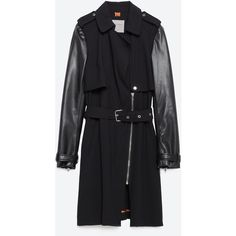 Zara Trench Coat With Faux Leather Sleeves ($149) ❤ liked on Polyvore featuring outerwear, coats, black, zara trenchcoat, trench coat, black trench coat, zara coat and leather sleeve trench coat