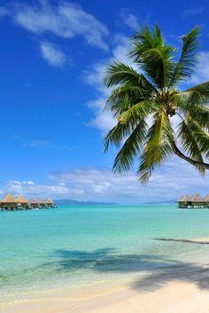 Amazing white beaches in Bora Bora