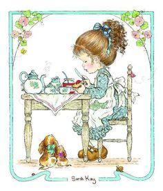 Tea for two Sarah Key, Sarah Kay Imagenes, Keys Art, Sweet Pic, Holly Hobbie, Painted Books, Precious Moments, Sweet Memories, Cute Illustration