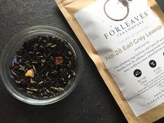 Earl Grey Lavender Black Tea with creamy hints of vanilla.  Supplier: For Leaves Tea Company, UK.