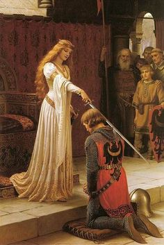 ♥ Pre-Raphaelite painting ~ in other words, a romanticized painting ~ of a Medieval royal lady knighting a nobleman.  'The Accolade' (1901) by Edmund Blair Leighton (1852-1922)