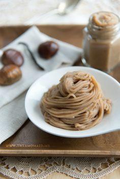 Maroni-Püree   Thermomaid Spaghetti, Japanese Sweets, Healthy Dessert Recipes, Kitchen Recipes, Chutney, Cake, Sweet Treats, Deserts, Good Food