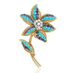 A turquoise, sapphire and diamond flower brooch, by Van Cleef and Arpels, circa 1965