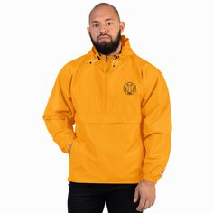 Protect yourself from the elements with this Champion packable jacket. This wind and rain resistant polyester jacket with a detailed embroidery design has a practical hood, front kangaroo pocket, and zipped pouch pocket which you can pull out a. Body, Champion Jacket, Packable Jacket, Half Zip Pullover, Champions, Manga, Mockup, Adidas Jacket, Rain Jacket