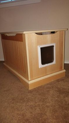 Toy box converted to litter box container