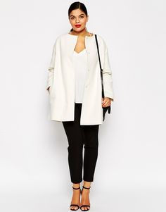 ASOS CURVE Coat in Trapeze with Dipped Hem (Plus Size)