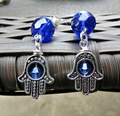 Handcrafted Cobalt Blue and Hamsa/Chamsa Hand by SparkleCatStudio.  We donate 25% of proceeds from our shop to animal rescues.  Find us on Facebook here: https://www.facebook.com/SparkleCatStudio