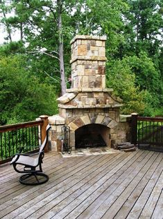 fireplace on the deck