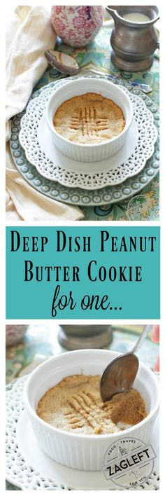Easy to make deep dish Peanut Butter Cookie For One, a few minutes and a few ingredients are all you need to make this simple dessert recipe. Soft in the center and crisp around the edges, this single serving cookie is the perfect quick treat. | ONE DISH KITCHEN | @onedishkitchen | #cookies #desserts #singleserving