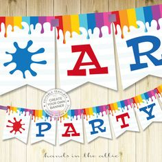 Party decoration ideas art party birthday supplies printable party kit templates party decoration names - BANNER DOWNLOAD - digital PDF by HandsInTheAttic