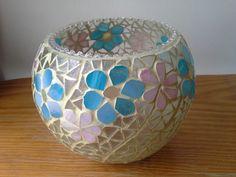 Mosaic Bottles, Mosaic Vase, Candle Holder Decor, Tealight Candle Holders, Mosaic Garden Art, Turkish Lamps, Mosaic Crafts, Tea Light Candles, Diy Craft Projects