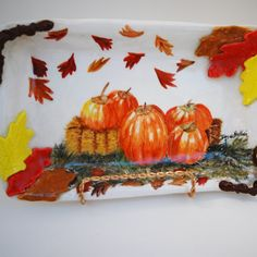 Pumpkin Serving Ceramic Tray by TheButlersCreations on Etsy, $54.95