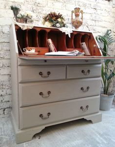 SHABBY CHIC VINTAGE WRITING BUREAU HAND PAINTED IN ANNIE SLOAN , WE DELIVERY!!