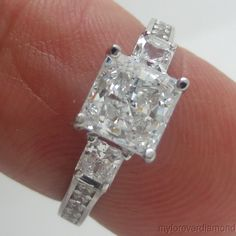 1.96 cts Princess cut man made Diamond Engagement Ring 14KT SOLID White Gold  #LAH #Solitaire
