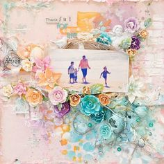Layout by Stacey Young for Prima using flowers, masks and resins